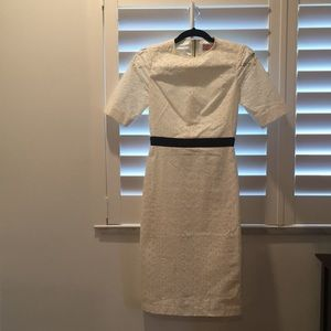 White Eyelet Ted Baker Bodycon Dress w/ Black band